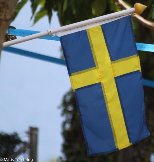 Vår svenska flagga pryder alltid vår plats.