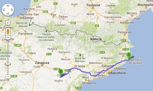 Så här ser resan ut idag. Om två dagar far vi vidare till San Sebastian.