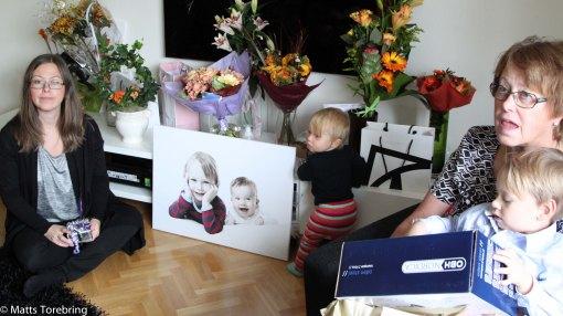 Presentöppning av familjens presenter