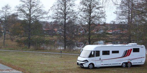 Idag är vi ensamma på ställplatsen på Eksjö Camping