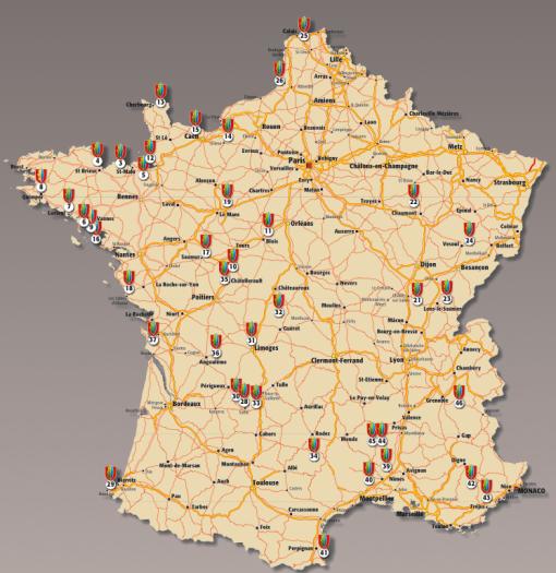 46 olika slott i Frankrike
