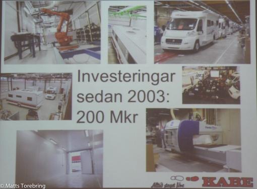 Investeringar i Kabe Husbilsfabrik de sista åren