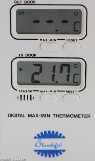 På förmiddagen var det +21,7 grader