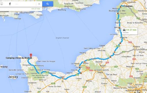 Dagen resa från Guines, Calais till Normandi