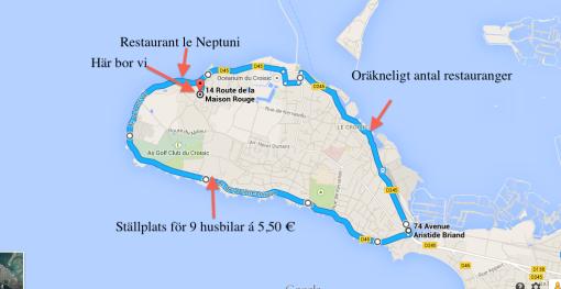 Karta över vår halvö där vi bor i Le Corisic