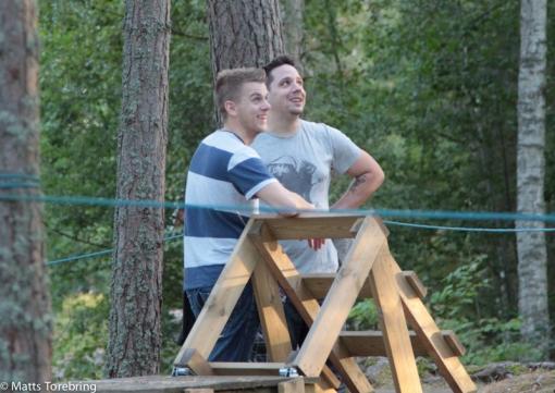 Säkrast på marken tycker serviceteknikerna Carl-Johan & Albin
