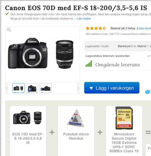 Paketpris kamerahus, 18- 200 objektiv  och minneskort