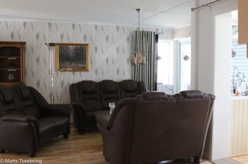 Öppet mella kök och vardagsrum