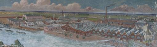 En tavla över den tidigare fabriksanläggningen