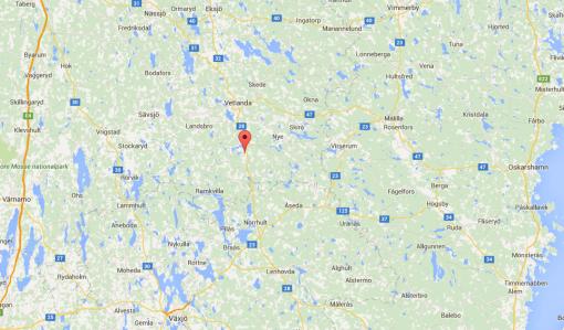 Här ligger Korsberga vid vägen mellan Vetlanda & Kalmar