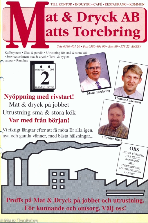 Flygblad 951002 nyöppning