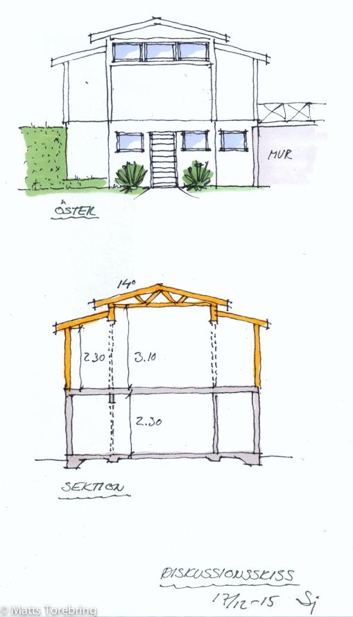 Ny garageritning, fasad mot öster